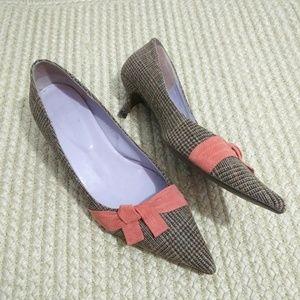 Boden Houndstooth Fabric Kitten Heels Sz 38